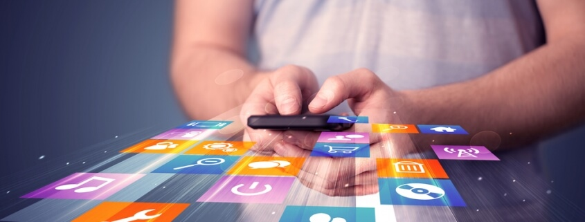 man using mobile apps