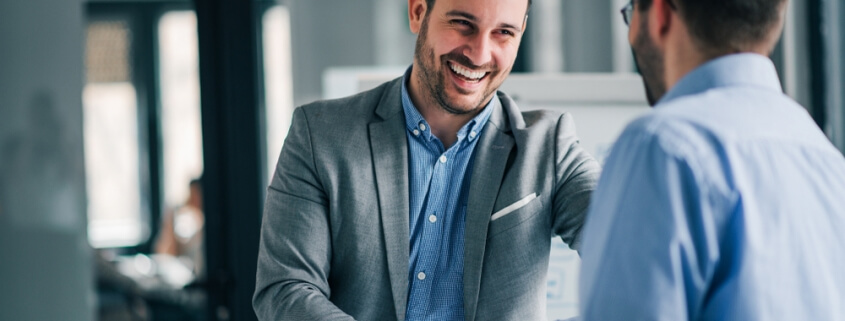Man signing new client